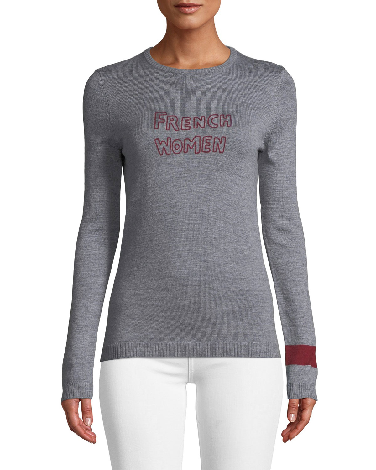 Bella Freud French Women Embroidered Cashmere Sweater Neiman Marcus