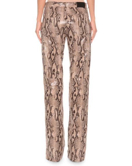 Faux-Leather Straight-Leg Python Pants