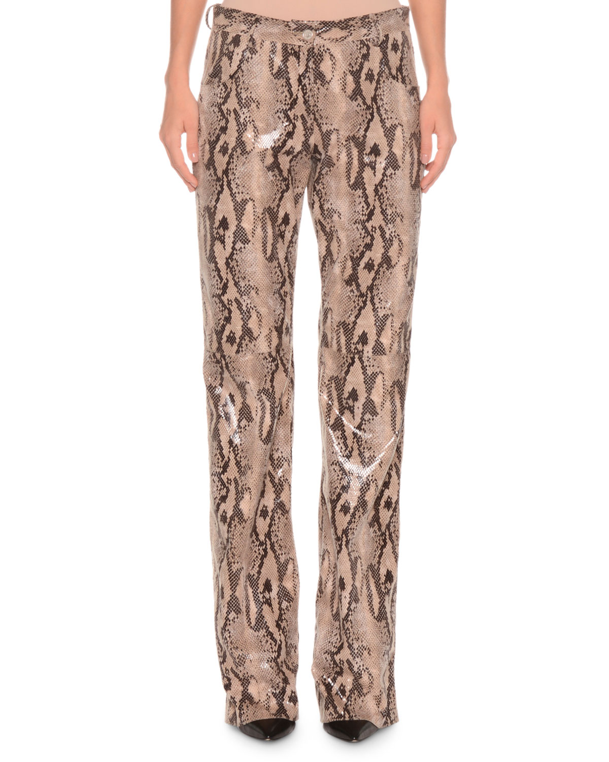 Exact Product: Kendall Jenner Grey Snakeskin Trousers 2019, Brand: MSGM, Available on: neimanmarcus.com