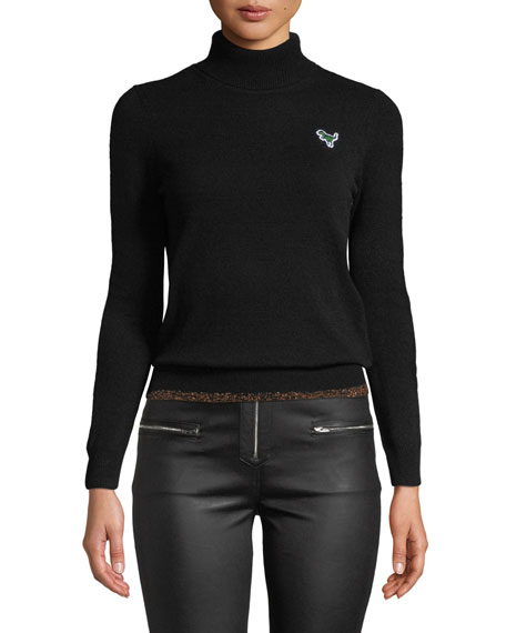 Metallic-Hem Turtleneck Sweater W/ Rexy Patch, Black