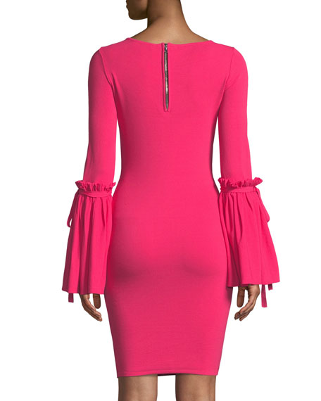 Flare-Cuff Long-Sleeve Dress