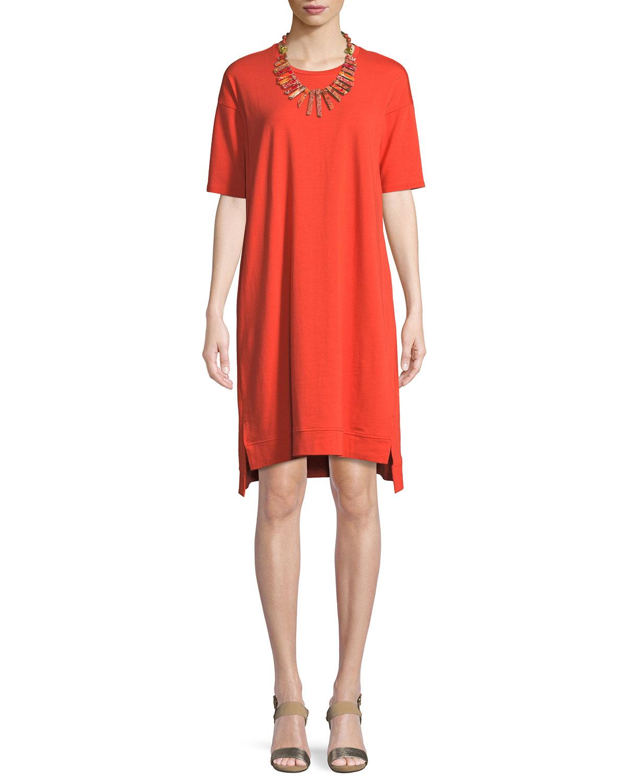 Petite Slubby Organic Cotton Jersey Shift Dress