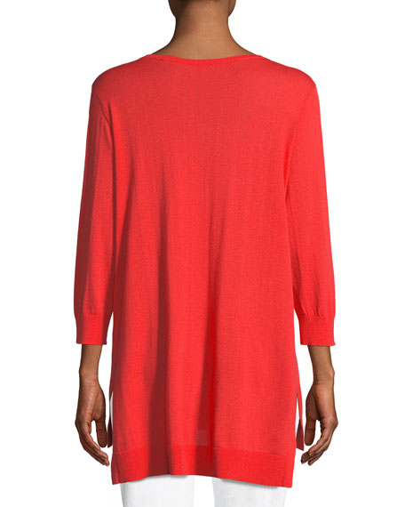 Open V-Neck Easy Sweater Tunic