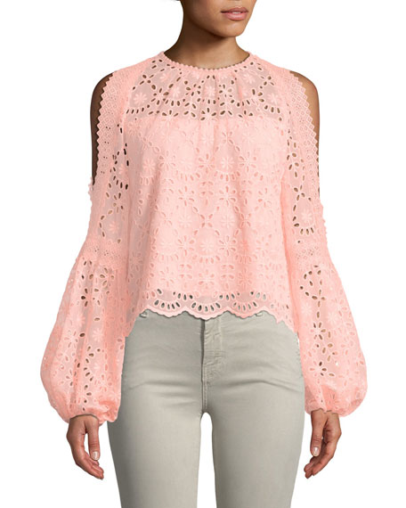 Nanette Lepore Portrait Scalloped Eyelet Top