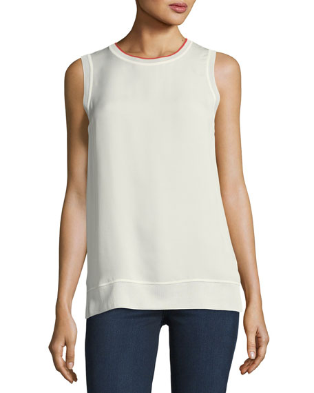 Lewie Crewneck Sleeveless Silk Tank