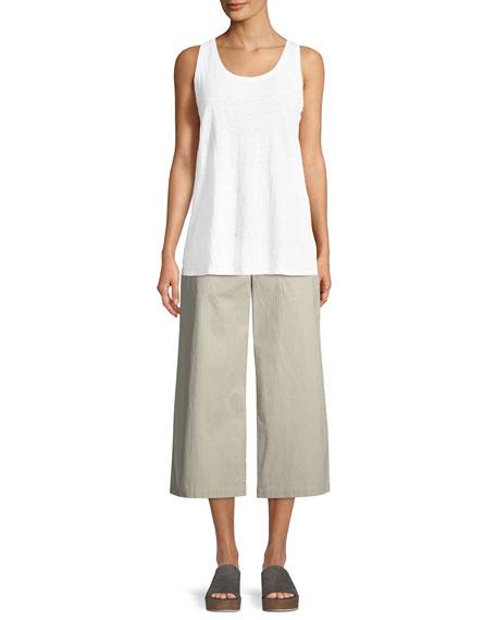 Organic Cotton Wide-Leg Cropped Pants, Petite