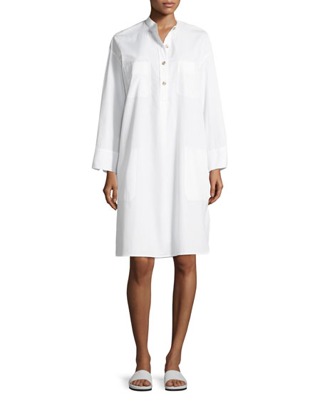 Vince Utility Cotton Long-Sleeve Shirt Dress
