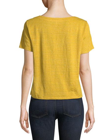 Short-Sleeve Mini-Stripe Linen Jersey Tee