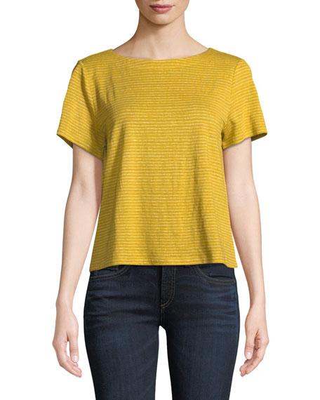 Eileen Fisher Short-Sleeve Mini-Stripe Linen Jersey Tee