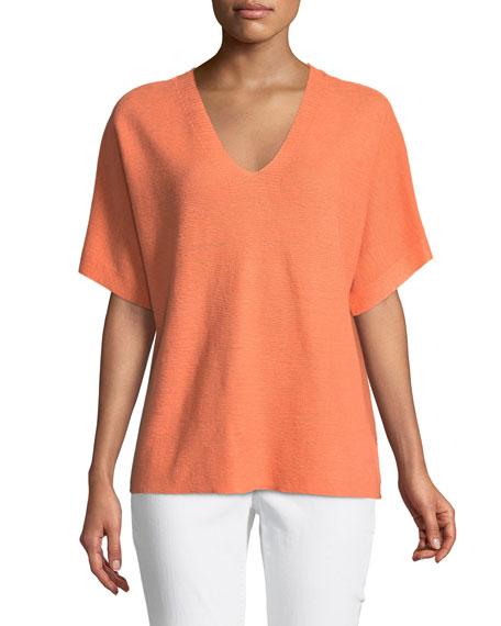 Short-Sleeve V-Neck Organic Linen Top