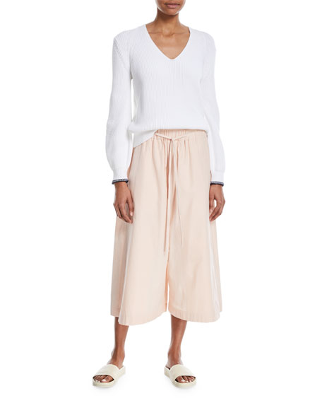 Drawstring Side-Slit Cropped Culotte Pants