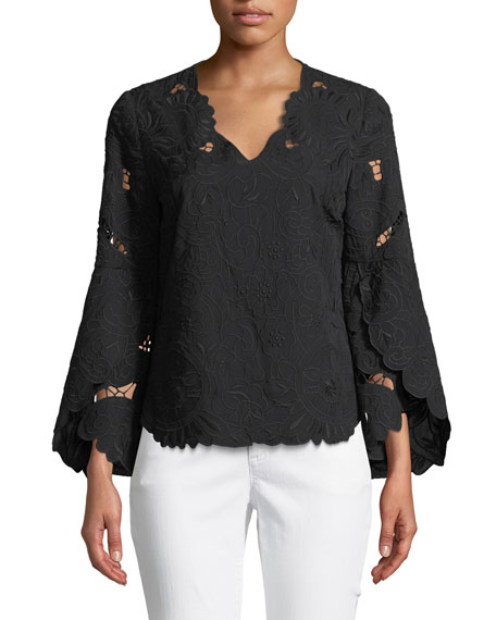 Kobi Halperin Demira Long-Sleeve Eyelet Top