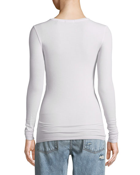 Long-Sleeve Ribbed Jersey Tee