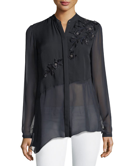 Remeleen Floral-Applique Silk Blouse