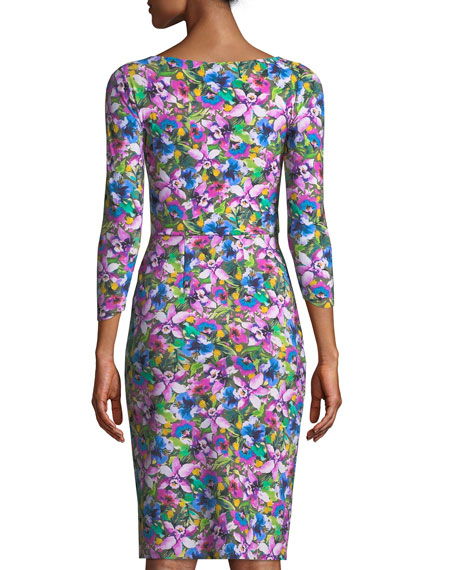 Sania 3/4-Sleeve Ruched Floral Cocktail Dress