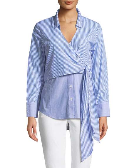 Wrap Tie Button-Down Poplin Shirt