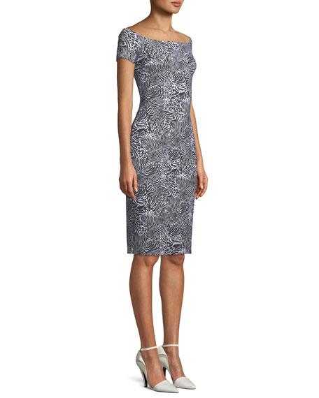 Off-the-Shoulder Floral Cocktail Dress
