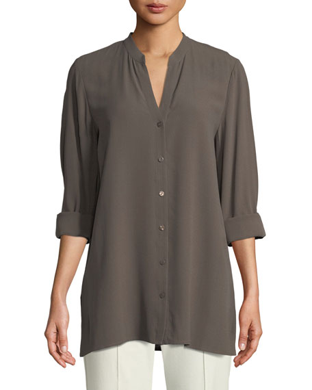 Eileen Fisher Silk Georgette Crepe Button-Front Top, Petite