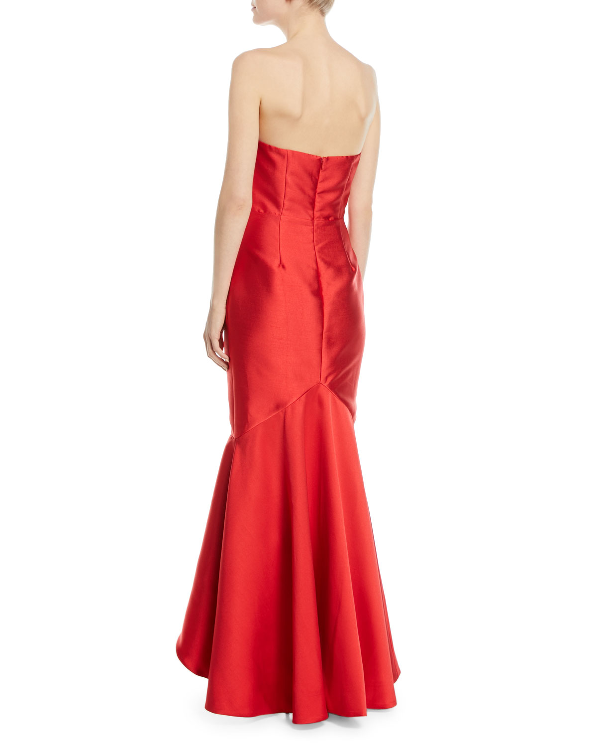 025afdc55320 Fame and Partners The Seller Twill Strapless Bustier Gown w/ Side Ruffle |  Neiman Marcus