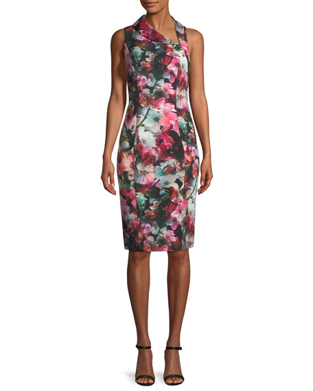 Blaze Floral-Print Asymmetric Sheath Dress