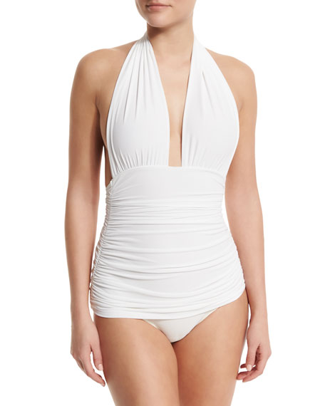 Norma Kamali Bill Ruched Halter Maillot Swimsuit