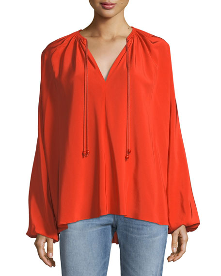 Elizabeth & James Chance Long-Sleeve Silk Top with