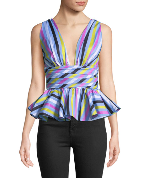 Paros Striped Sleeveless Peplum Top