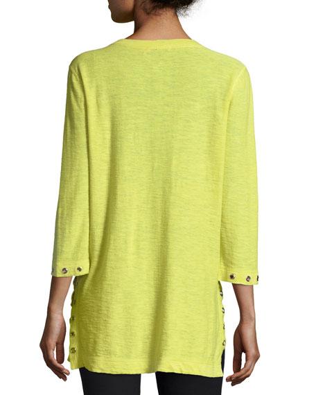 3/4-Slub V-Neck Sweater