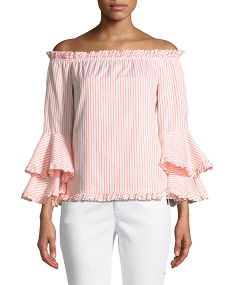 Caroline Constas Tina Striped Off-the-Shoulder Tiered-Sleeve Top