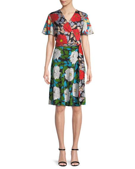 Diane von Furstenberg Flutter-Sleeve Floral-Print Silk Wrap Dress