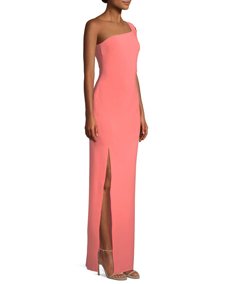 Maxson One-Shoulder Column Evening Gown