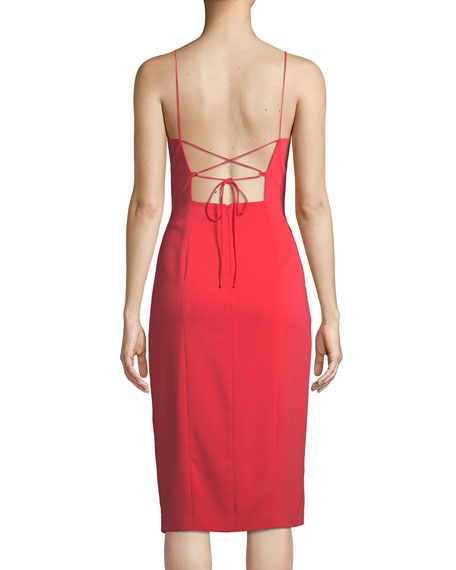 High-Slit Open-Back Midi Cocktail Dress