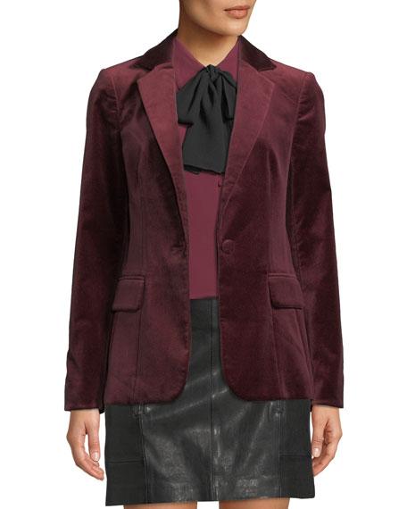 FRAME Classic One-Button Velvet Blazer
