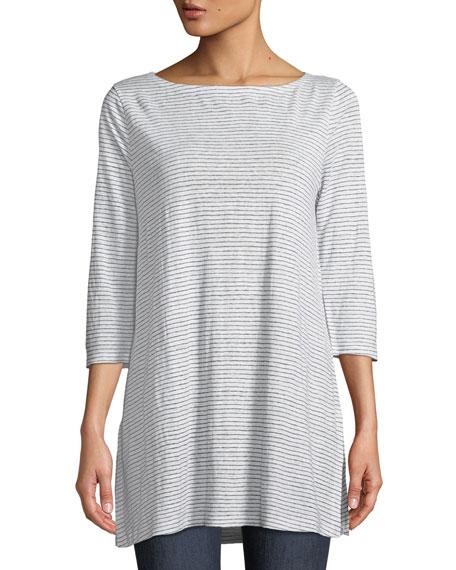 Eileen Fisher Mini-Stripe Organic Linen Jersey Tunic Tee,