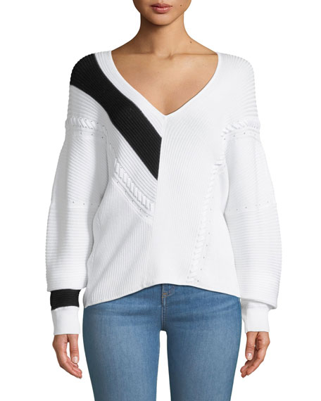 Cricket V-Neck Long-Sleeve Knit Sweater