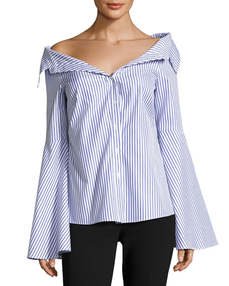 Caroline Constas Persephone Striped D??collet?? Shirt