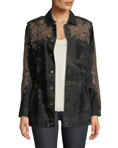 Miloqui Camo-Print Floral-Embroidered Jacket, Petite