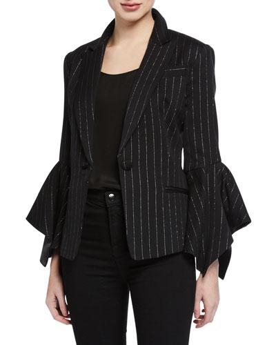 Metallic Pinstripe Bell-Sleeve Blazer Jacket