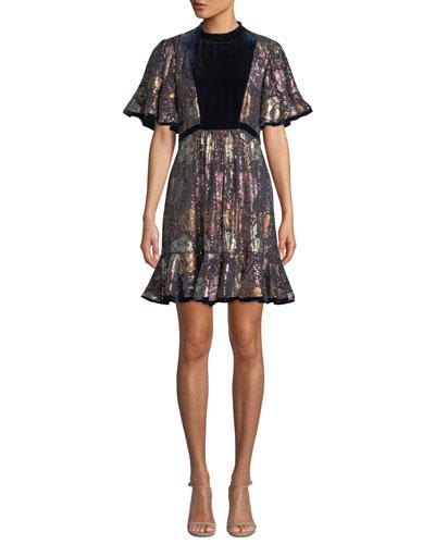Short-Sleeve Clip Velvet Flounce Dress