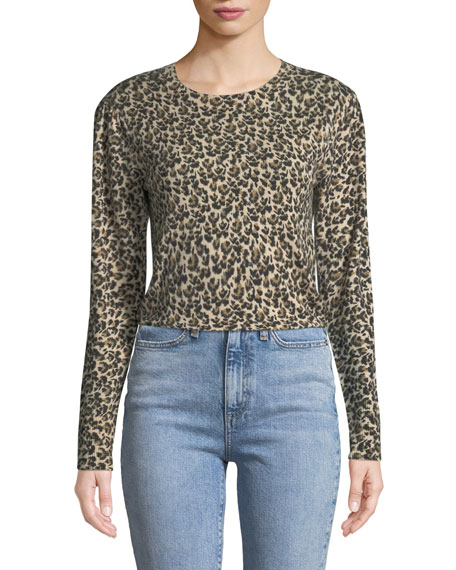 Leopard-Print Merino Pullover Sweater