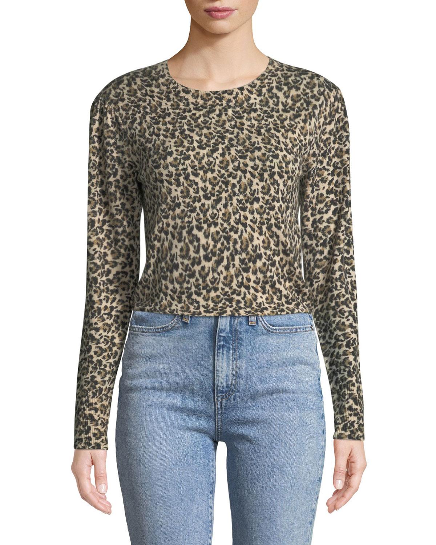Rebecca Taylor Leopard-Print Merino Pullover Sweater   Neiman Marcus 6a2e574765e