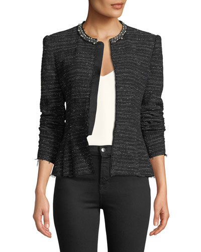 Structured Embroidered Tweed Jacket