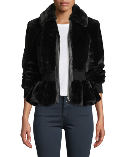 Zip-Front Faux-Fur Peplum Jacket