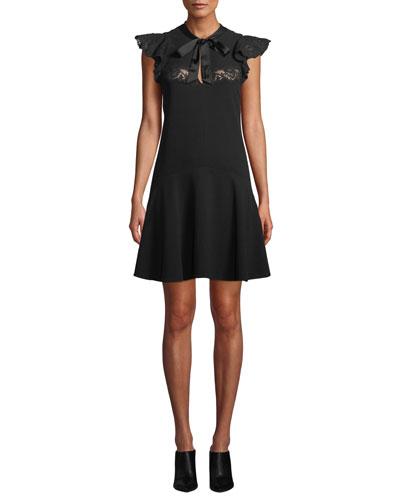 Sleeveless Crepe Tie-Neck Lace Short Dress