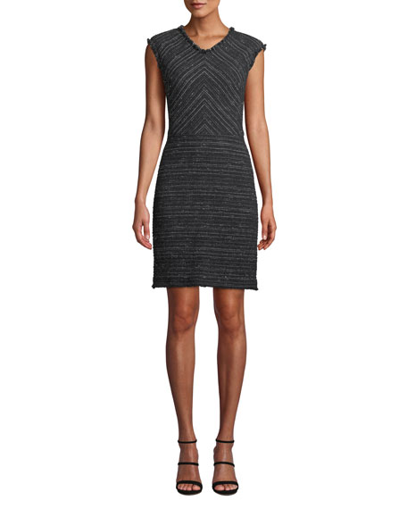 Sleeveless Stretch-Tweed Short Dress