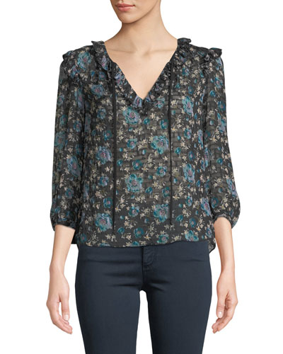 Solstice Floral Ruffle 3/4-Sleeve Top