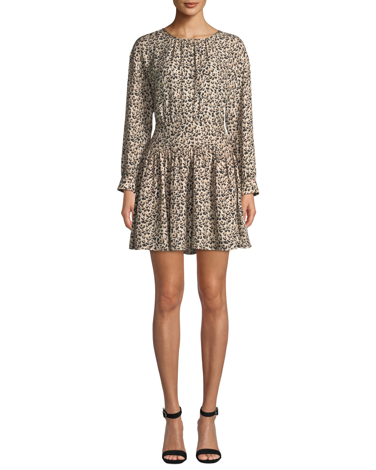 e1d0daa66c Rebecca Taylor Long-Sleeve Silk Leopard-Print Short Dress