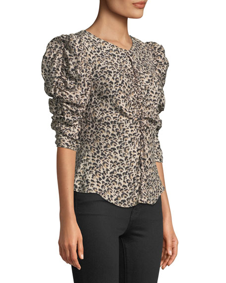 Ruched Puff-Sleeve Leopard-Print Top