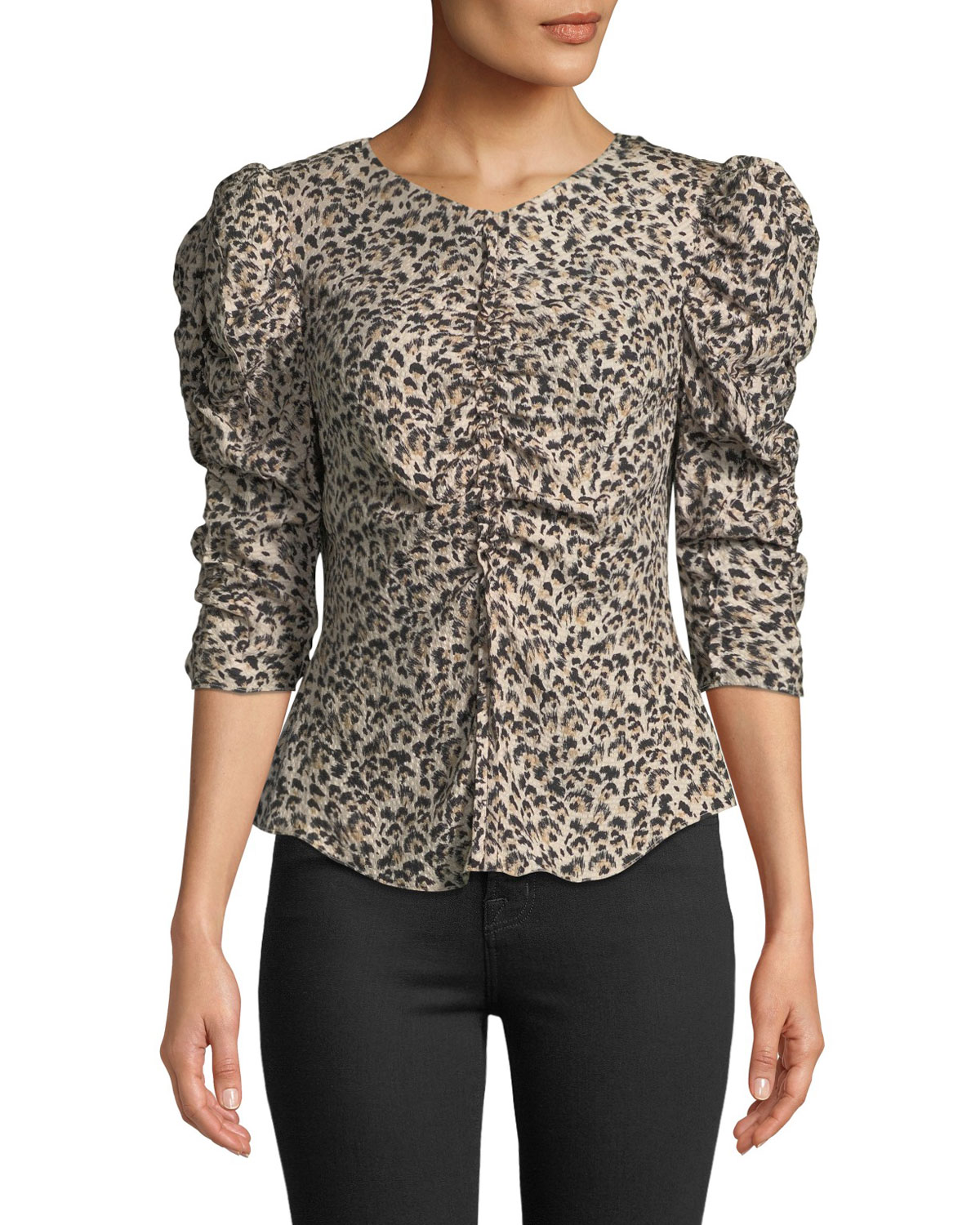 08fe529998605 Rebecca Taylor Ruched Puff-Sleeve Leopard-Print Top