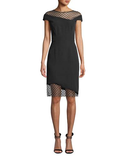 Lillian Italian Cady Sheath Dress with Sheer Point d'Esprit Insets